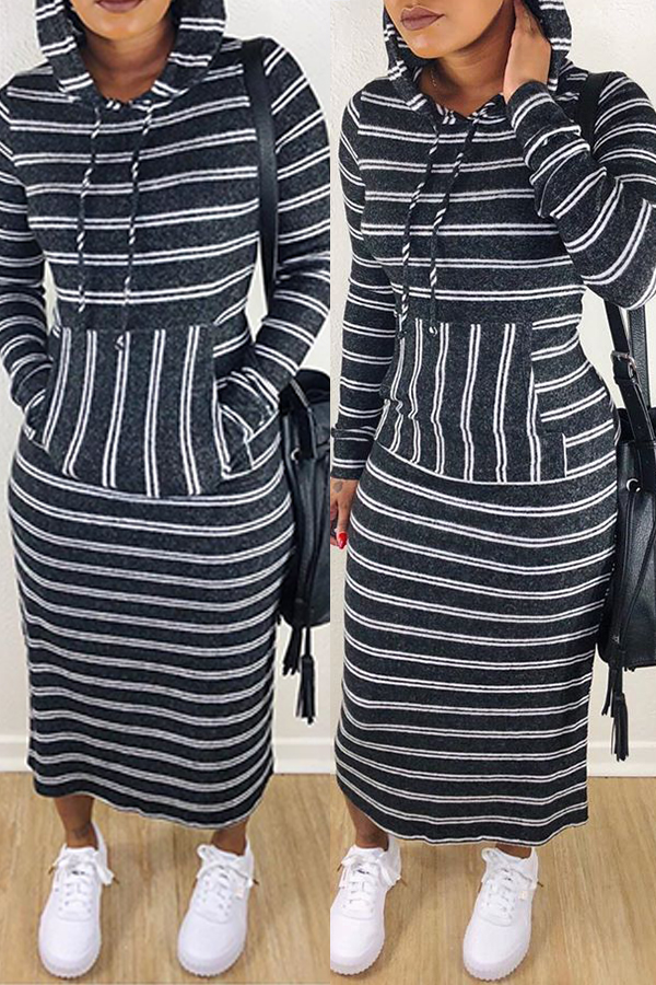 lovelywholesale / Lovely Casual Striped Black Ankle Length Dress
