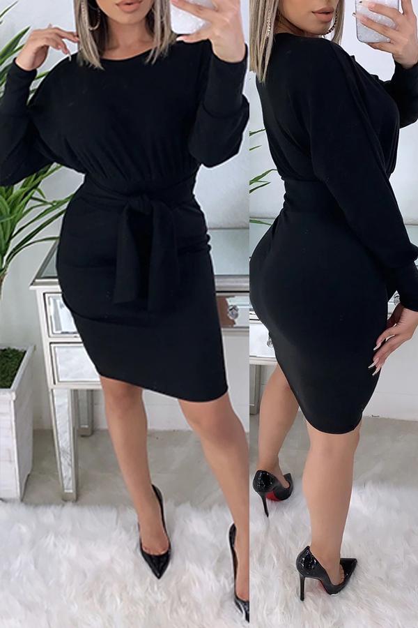 Lovely Trendy Knot Design Black Knee Length Dress