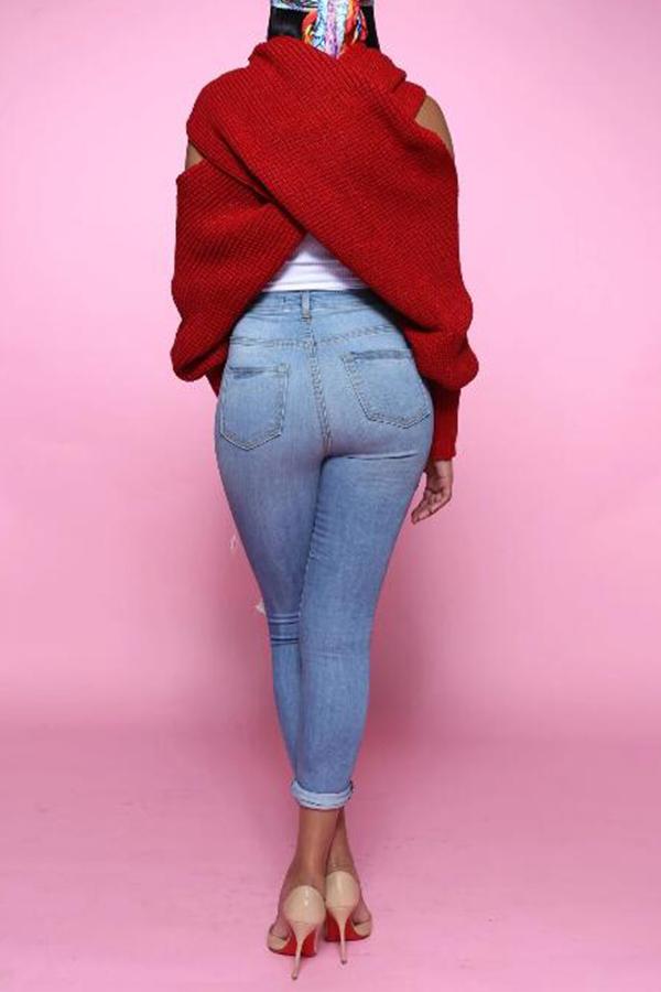 Lovely Casual V Neck Cross-over Design Bright Red Sweater