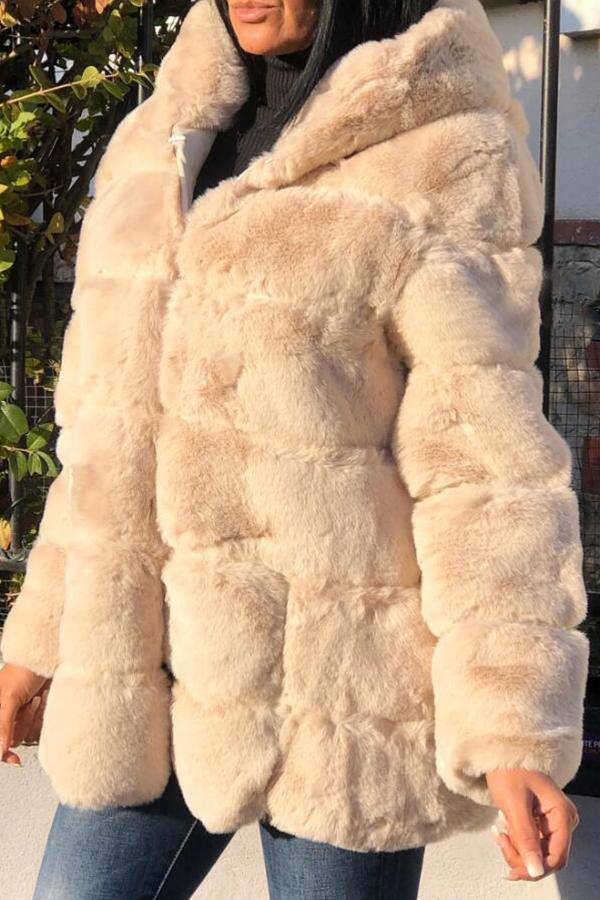 Lovely Casual Basic Creamy White Teddy Coat
