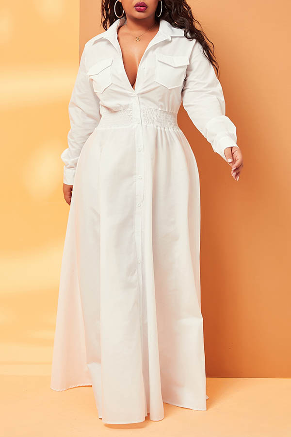 Lovely Casual Pocket Patched White Plus Size Maxi Dress