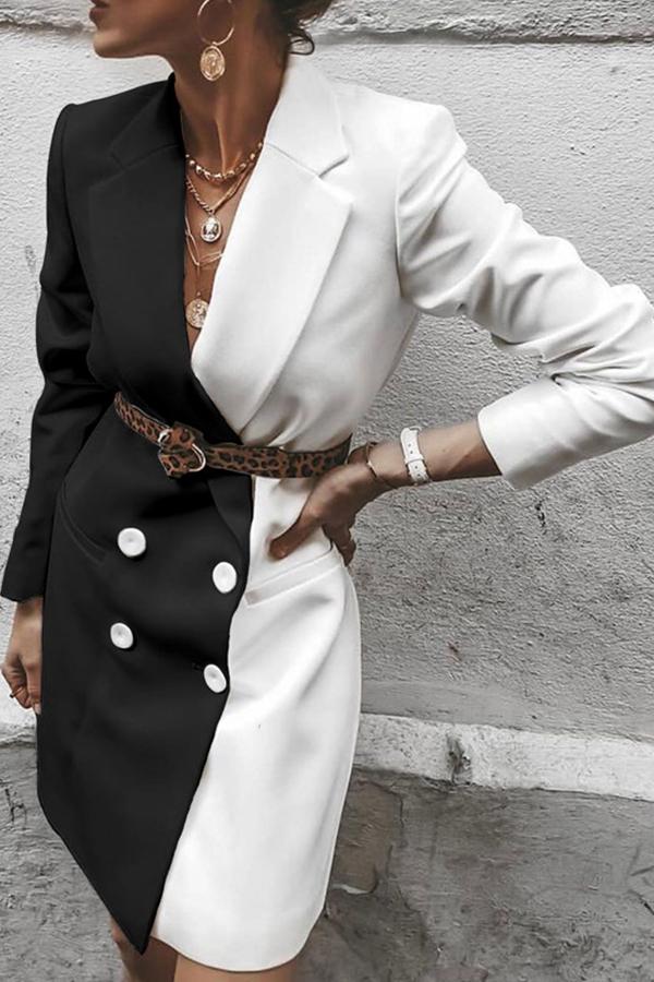 Lovely Casual Basic Patchwork Black Blazer