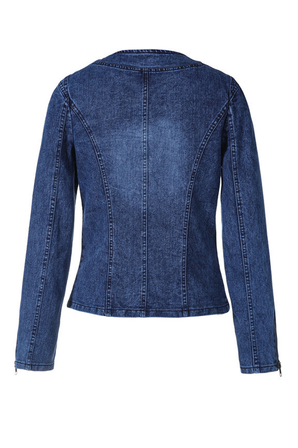 Lovely Casual Basic Patchwork Blue Coat
