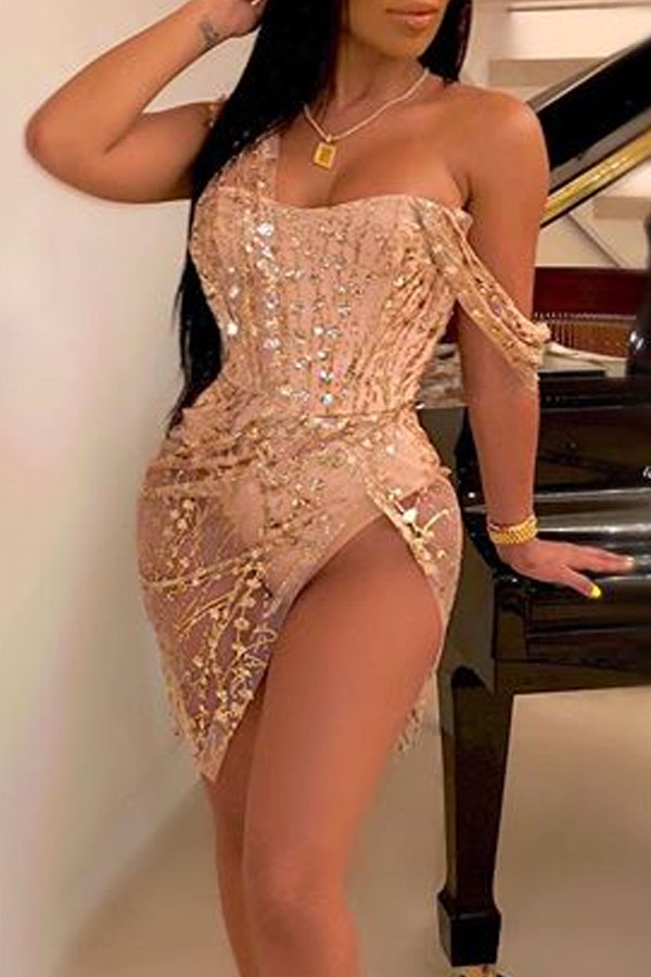 Lovely Party Sleeveless Apricot Mini Prom Dress