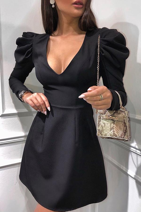 Lovely Sweet Hubble-bubble Sleeve Black Mini Dress