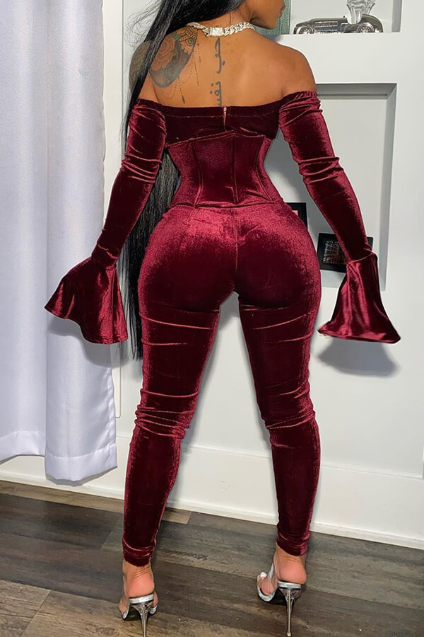 LW SXY Party Dew Shoulder Wine Red Two-piece Pants Set
