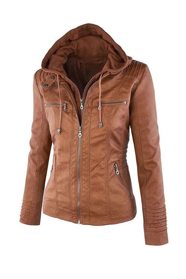Lovely Casual Zipper Design Brown Coat