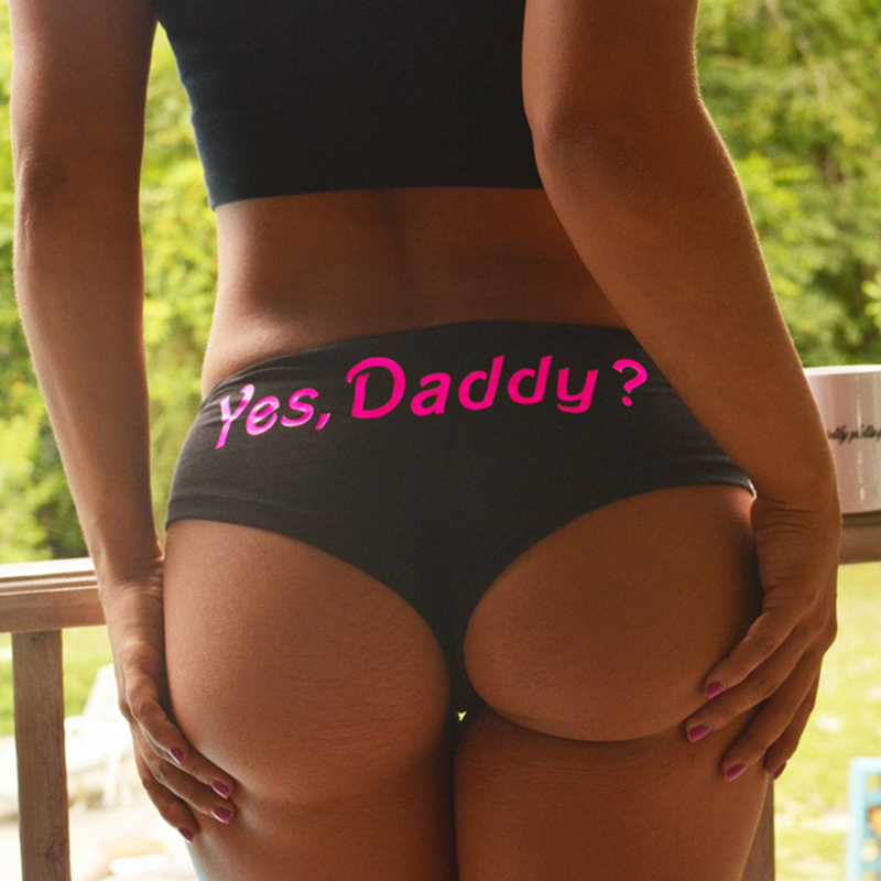 Lovely Sexy Letter Black Panties