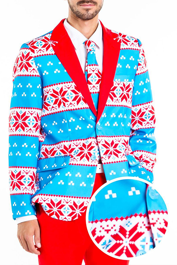 Lovely Christmas Day Snowflakes Print Blue Formal Wear