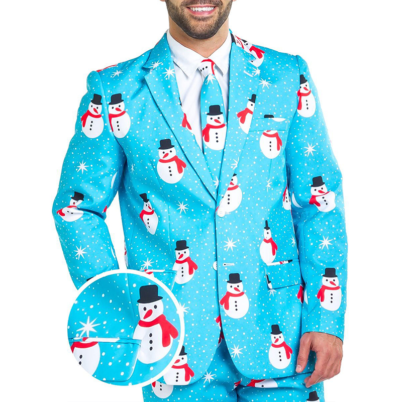 Lovely Christmas Day Print Baby Blue Formal Wear