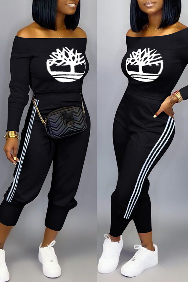 Lovely Casual Print Black Two-piece Pants Set фото