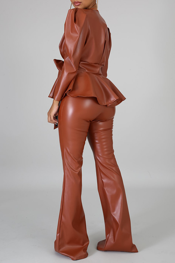 Lovely Trendy V Neck Flounce Brown Two-piece Pants Set
