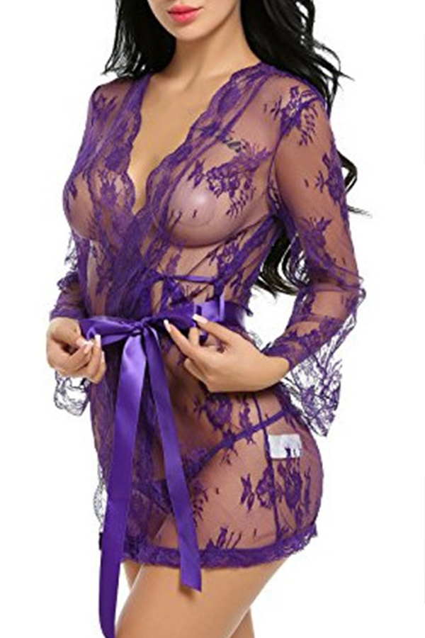 Lovely Chic See-through Purple Babydolls