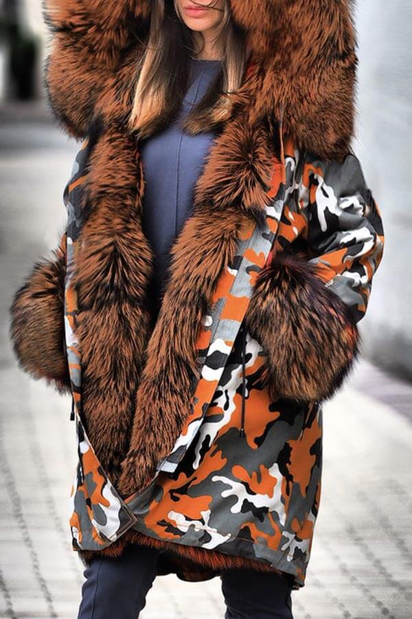 Lovely Casual Patchwork Croci Parka Coat