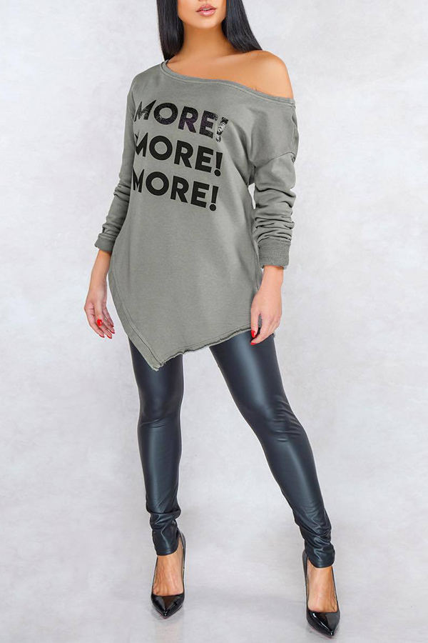 Lovely Casual Letter Grey Blouse