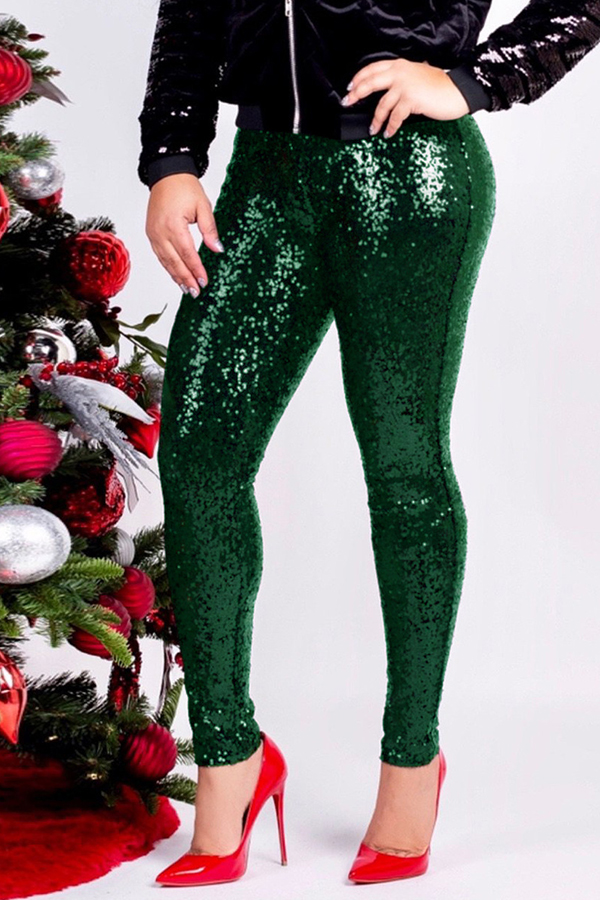 Lovely Casual Sequin Green Pants