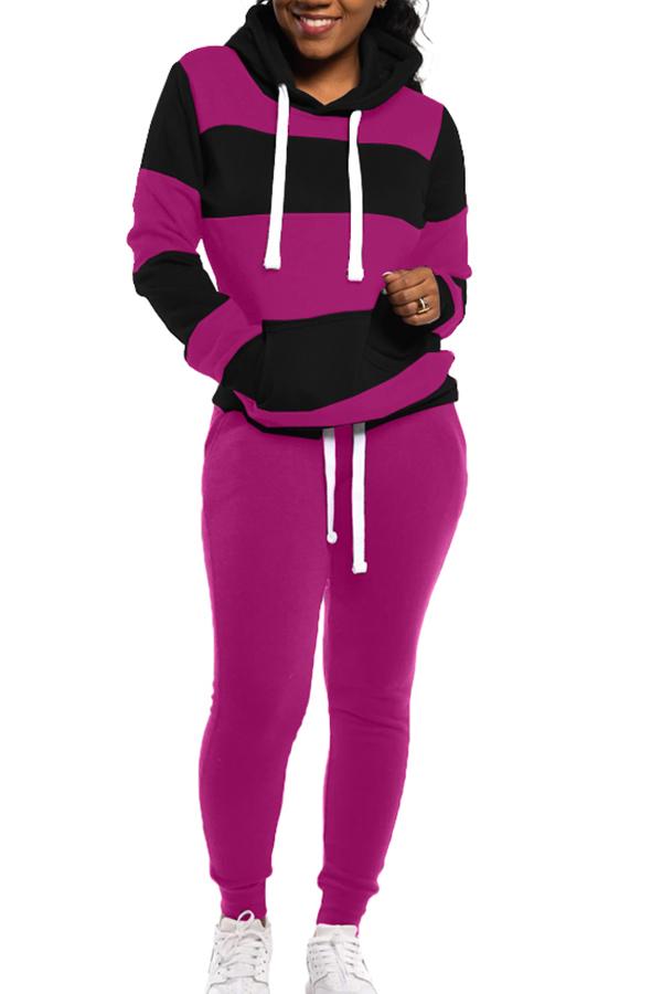 Lovely Casual Patchwork Purple Plus Size Two-piece Pants Set