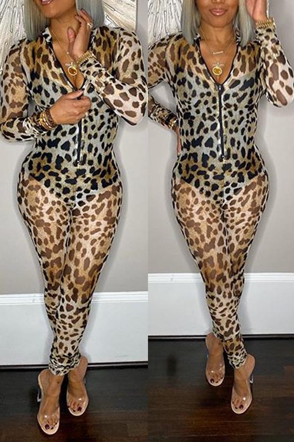Lovely Chic Leopard Print One-piece Jumpsuit