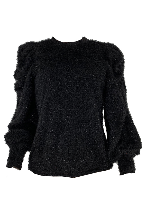 Lovely Casual Mandarin Collar Ruffle Design Black Sweater