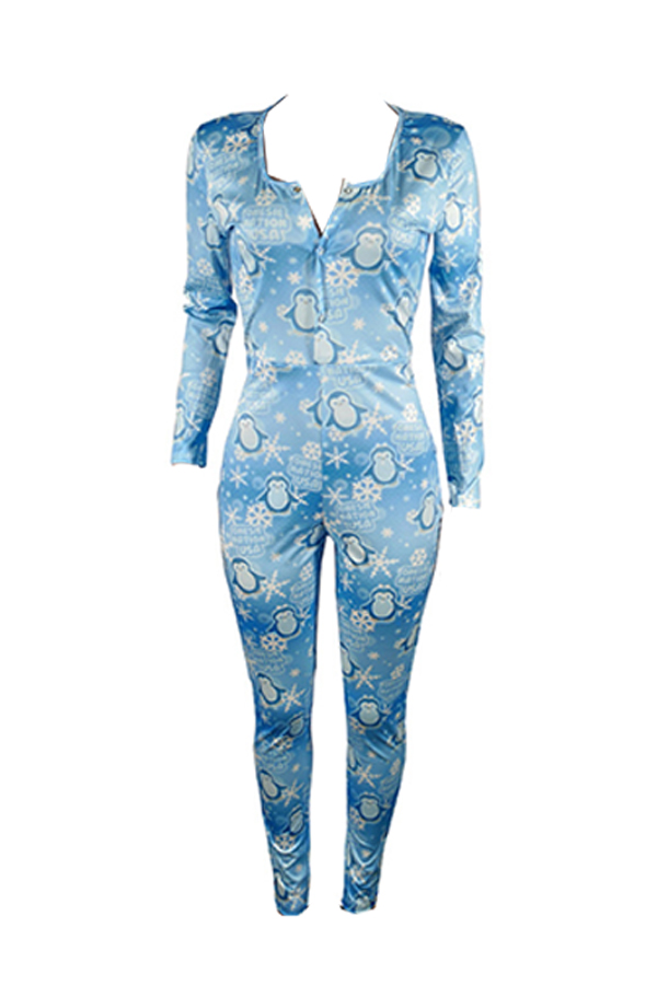 Lovely Christmas Day Printed Baby Blue One-piece Jumpsuit
