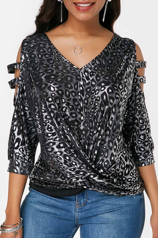 Lovely Casual V Neck Black Blouse