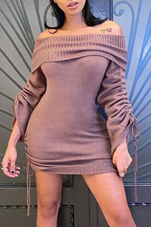 Lovely Casual Dew Shoulder Dark Pink Ankle Length Dress