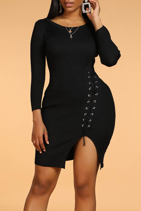 Lovely Leisure Drawstring Black Mini Dress