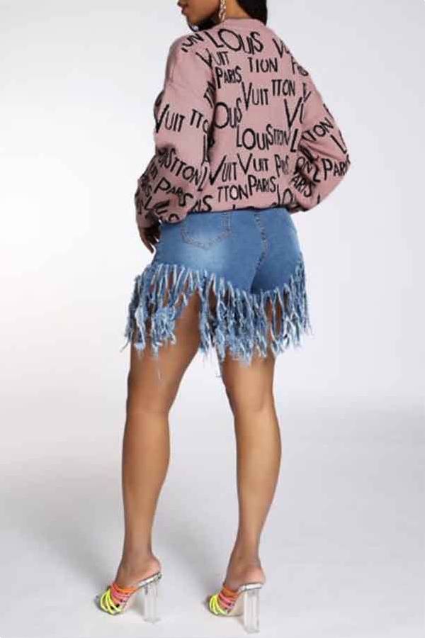 Lovely Casual Letter Pink Sweater