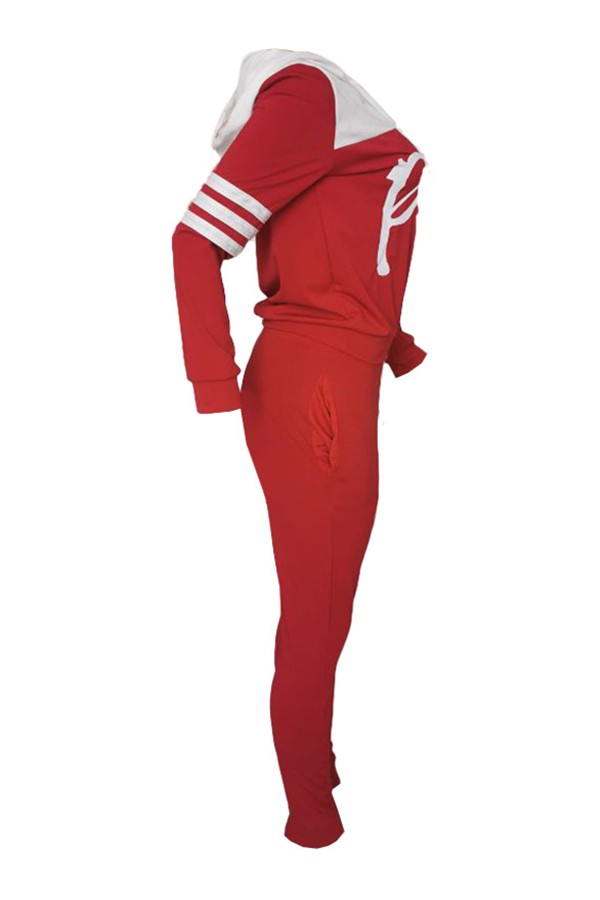 Lovely Casual Hooded Collar Letter Red Two-piece Pants Set