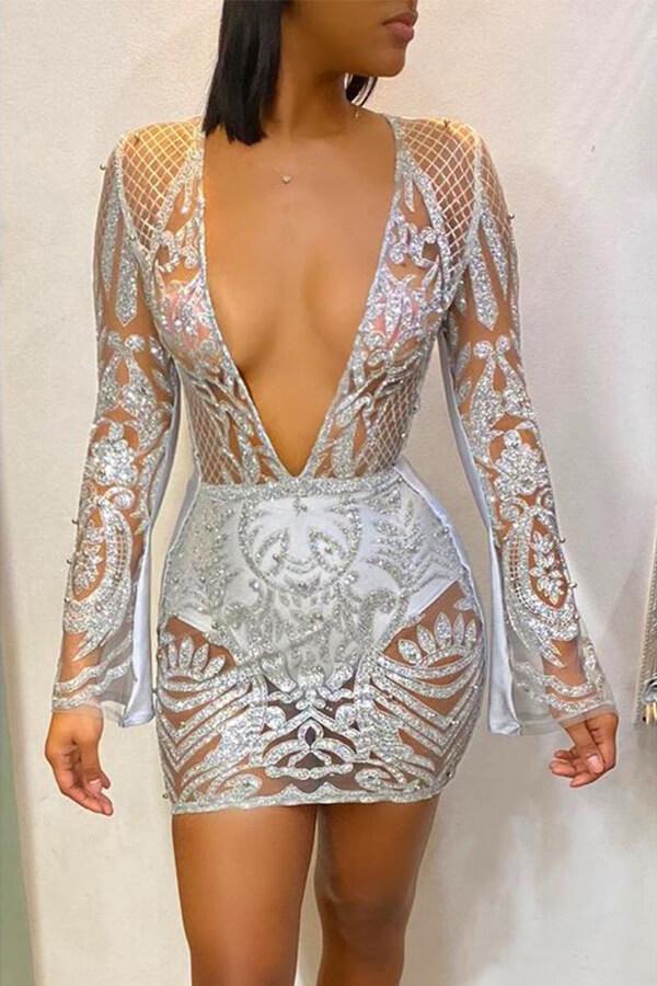 Lovely Party Deep V Neck Silver Mini Dress