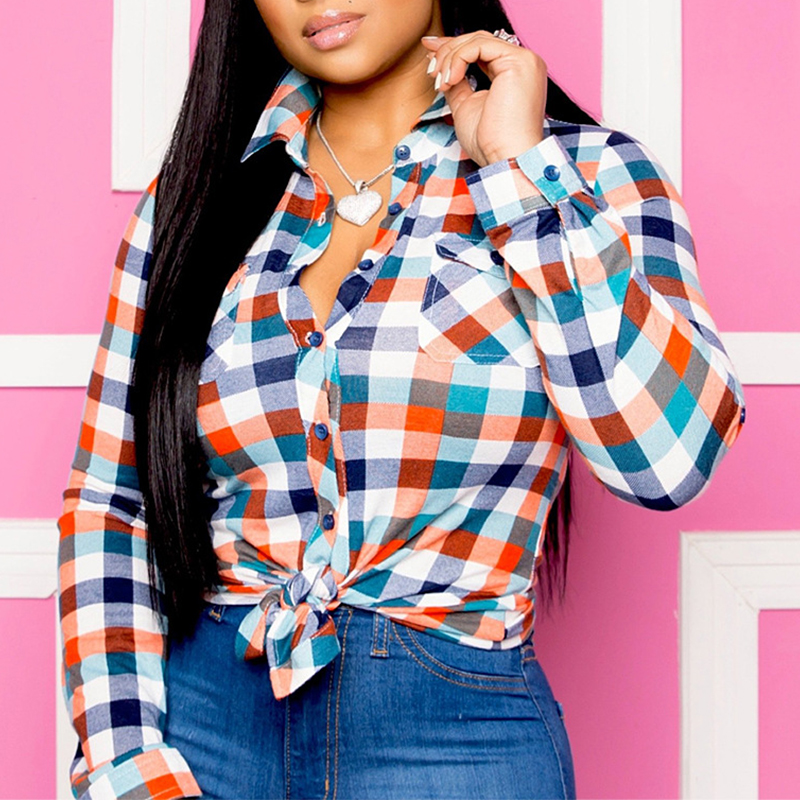 Lovely Casual Plaid Multicolor Blouse