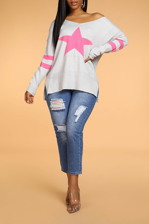 Lovely Casual Star Grey Sweater