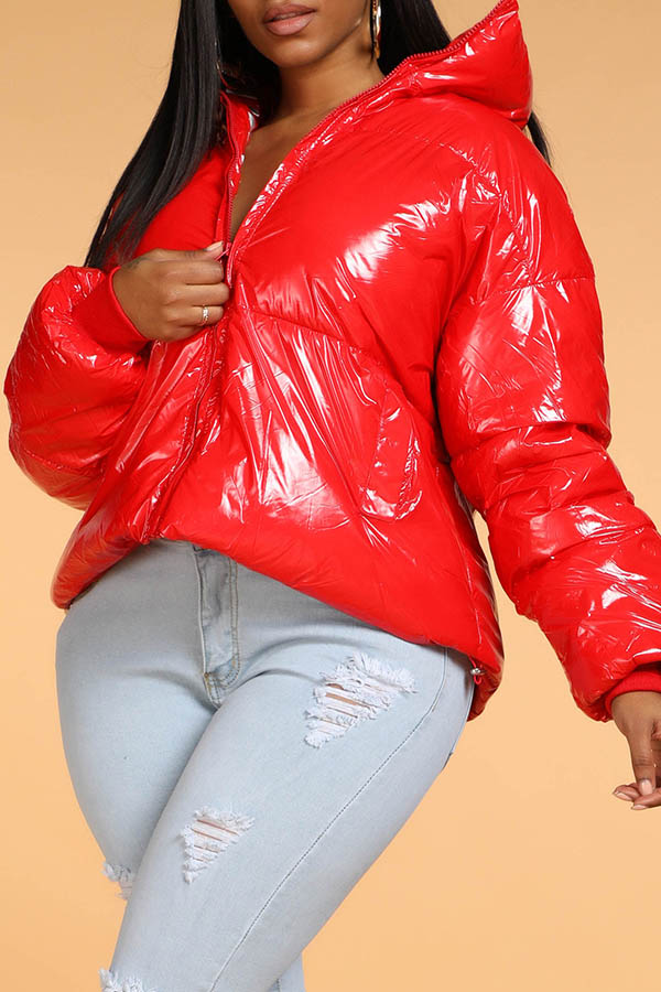 Lovely Chic Zipper Design Red Winter Coat