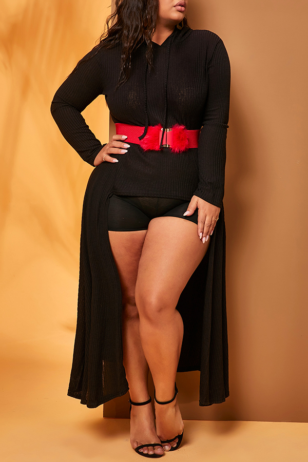 Lovely Casual Asymmetrical Black Plus Size Hoodie