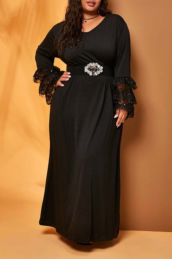 Lovely Casual Flounce Patchwork Black Ankle Length Plus Size Dress