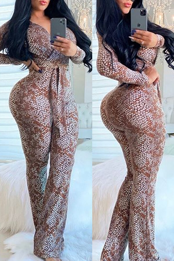 Lovely Casual Snakeskin Print One-piece Jumpsuit