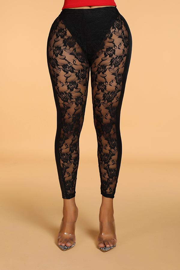 Lovely Casual Lace Patchwork Black Pants