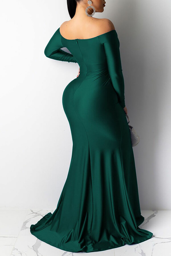 Lovely Party V Neck Side Slit Green Trailing Prom Dress