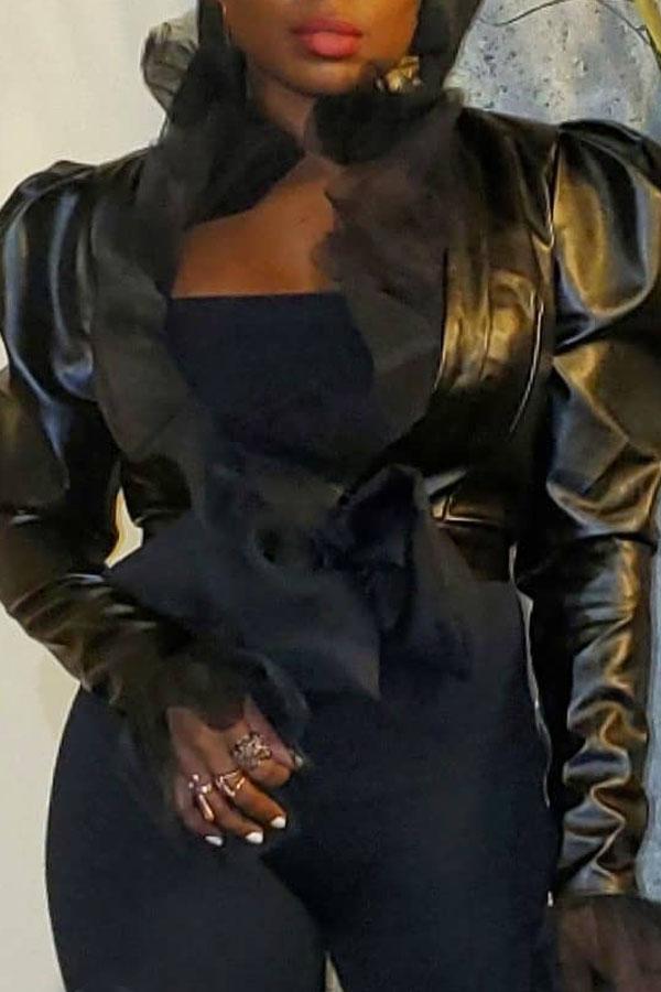 Lovely Chic Flounce Black Coat