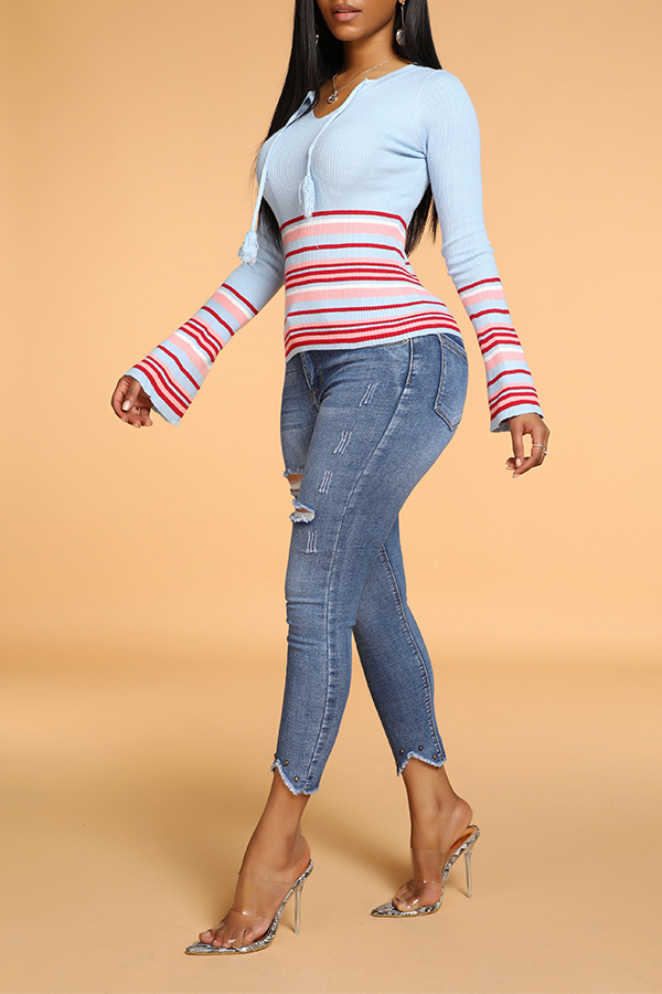Lovely Casual Striped Baby Blue Sweater