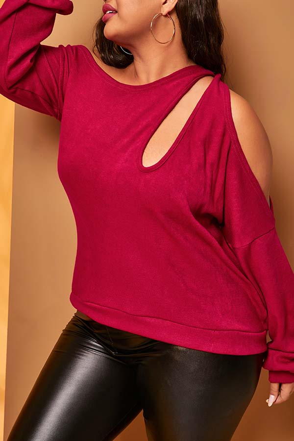 Lovely Casual Dew Shouler Red Plus Size Sweater
