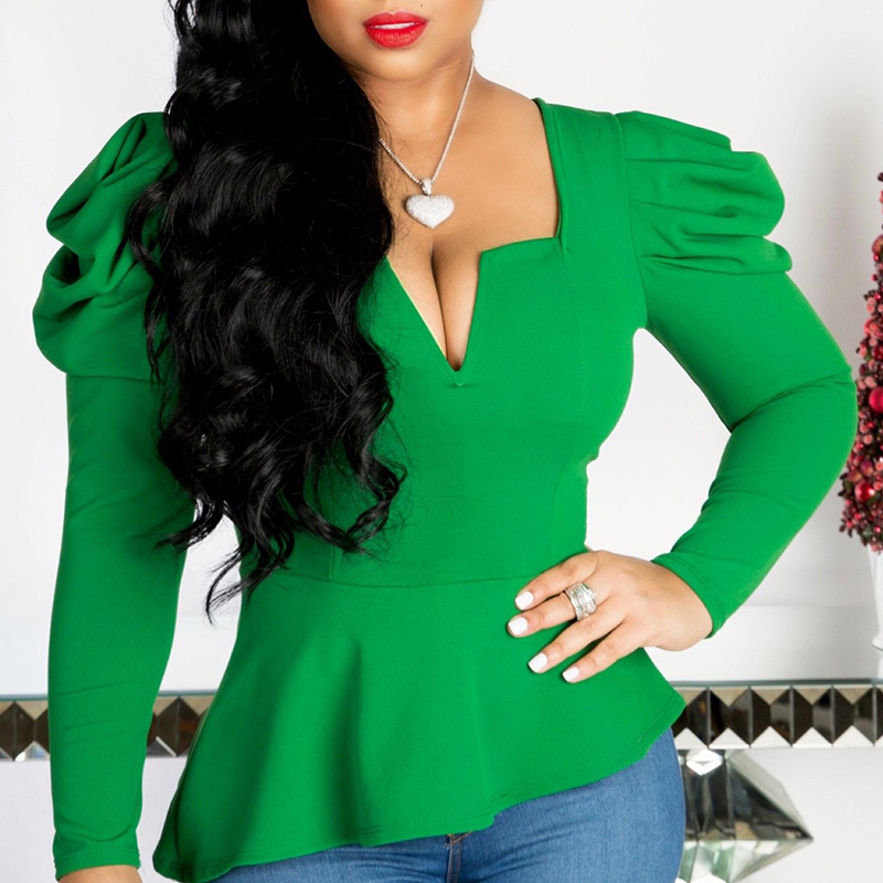 Lovely Casual Square Collar Green Blouse