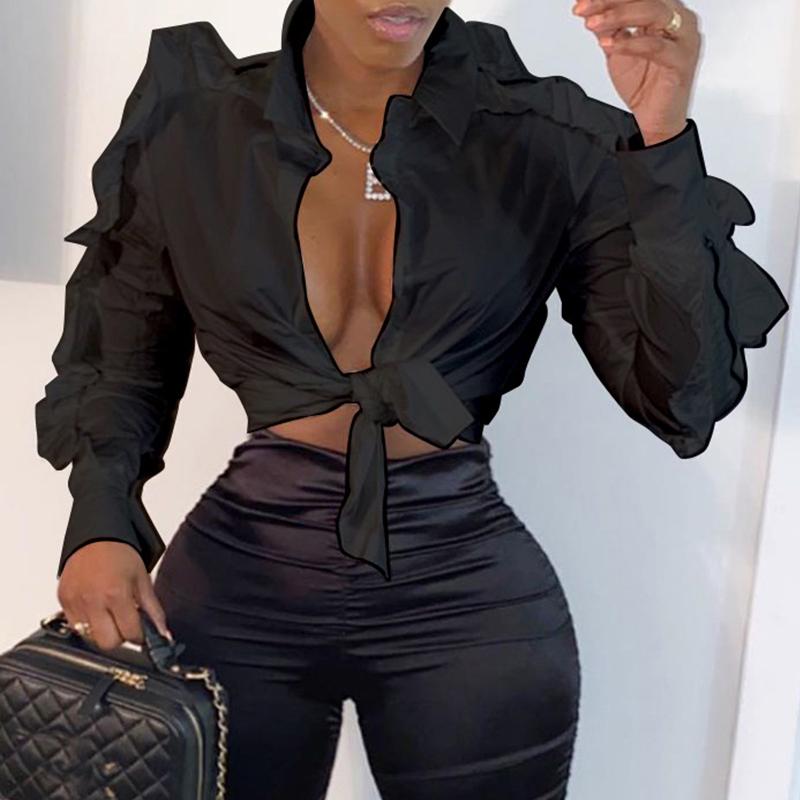 Lovely Stylish Flounce Patchwork Black Blouse