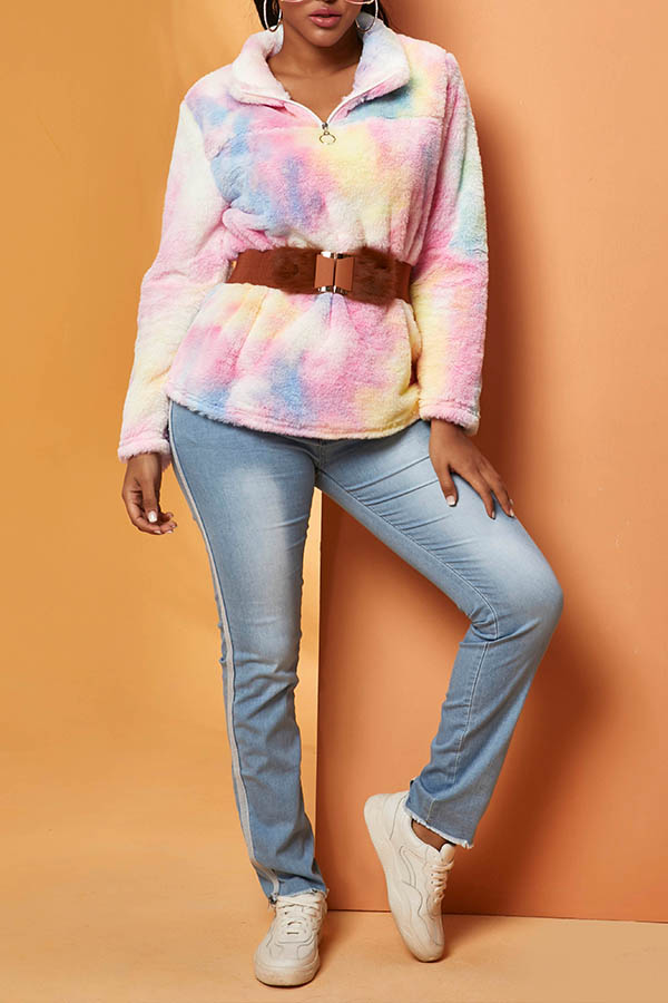 Lovely Casual Print Pink Hoodie(Without Belt)