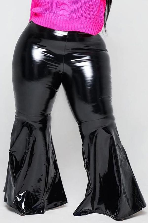 Lovely Casual Basic Black PU Plus Size Pants