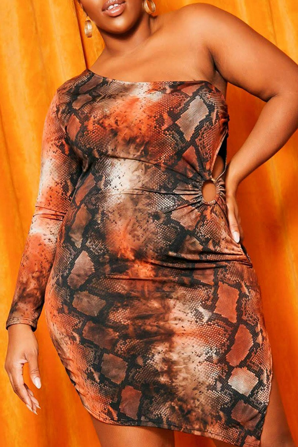 Lovely Casual One Shoulder Snakeskin Print Knee Length Plus Size Dress