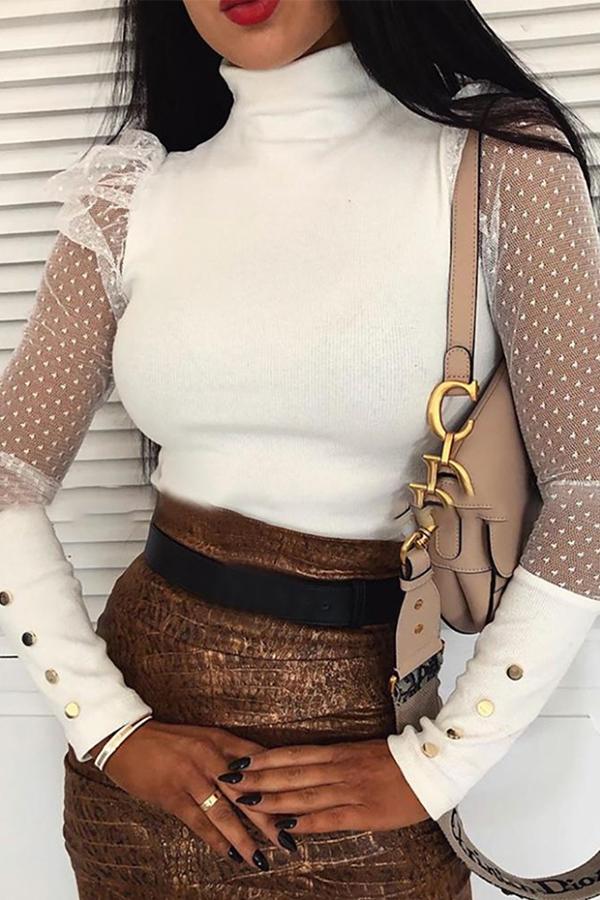 Lovely Chic Patchwork White Blouse
