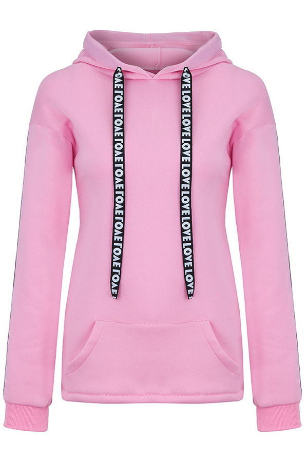 Lovely Casual Hooded Collar Letter Print Pink Hoodies