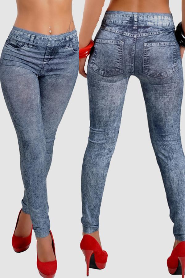 Lovely Casual Print Skinny Blue Leggings