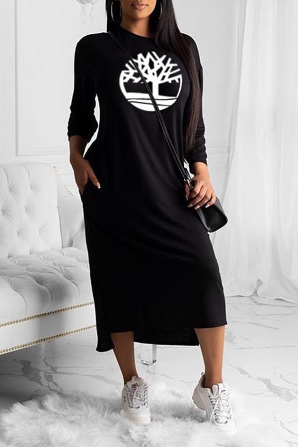 lovelywholesale / Cheap Daily Dress Lovely Chic O Neck Print Black  Mid Calf Dress